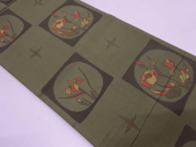 色紙に菖蒲模様織出し袋帯【リサイクル】【中古】