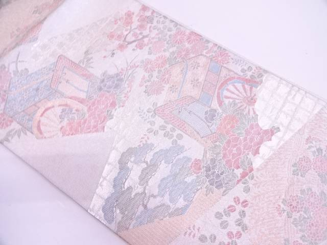 佐賀錦御所車に草花模様織出し袋帯【リサイクル】【中古】