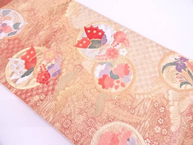 丸紋に蝶・草花模様織出し袋帯【リサイクル】【中古】