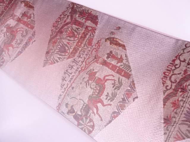 纐纈狩猟に草花模様織出し袋帯【リサイクル】【中古】