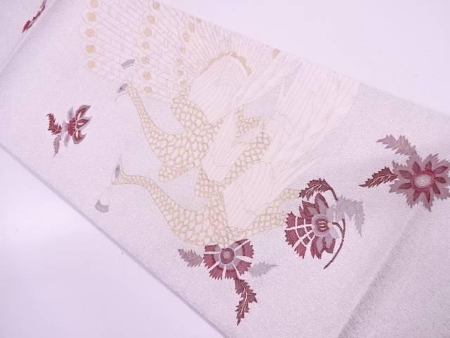 未使用品 綴れ孔雀に花模様織出し袋帯【リサイクル】【中古】