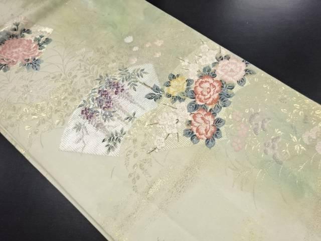 金糸花扇模様織り出し袋帯【リサイクル】【中古】