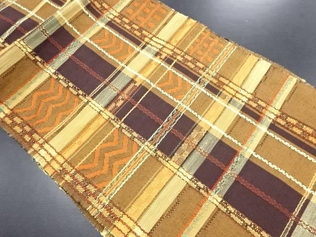 手織り真綿紬格子模様織り出し名古屋帯【リサイクル】【中古】