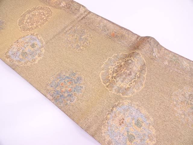 縞に草花・動物模様織出し袋帯【リサイクル】【中古】