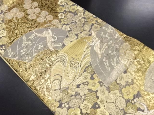 本金地紙に花鳥模様織り出し袋帯【リサイクル】【中古】