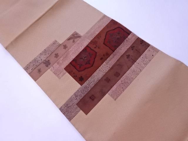 袋帯 切嵌にコルクとスエードと更紗文様【リサイクル】【中古】