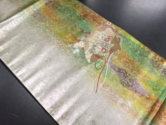 引箔桧扇に菊・撫子模様織り出し袋帯【リサイクル】【中古】