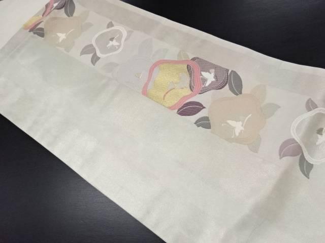 引箔椿に蝶模様織り出し名古屋帯【リサイクル】【中古】