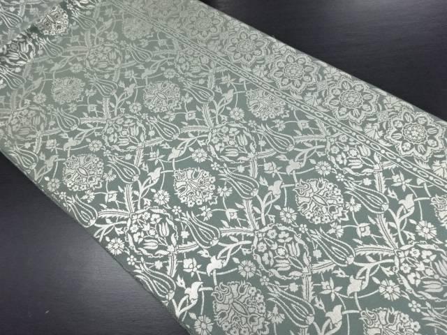 作家物 銀糸華紋更紗織り出し全通袋帯【リサイクル】【中古】