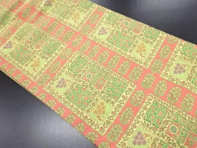 未使用品 萬葉製 草花に格子模様織り出し名古屋帯【リサイクル】【中古】