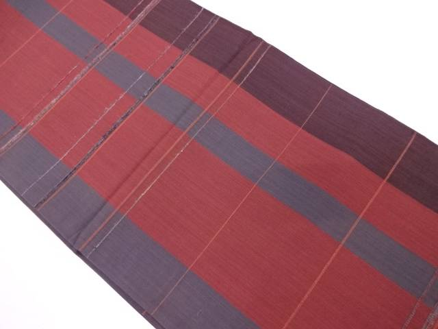 縞模様織出し袋帯【リサイクル】【中古】
