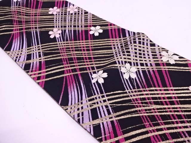 未使用品 桜に抽象模様織出し袋帯【リサイクル】【中古】