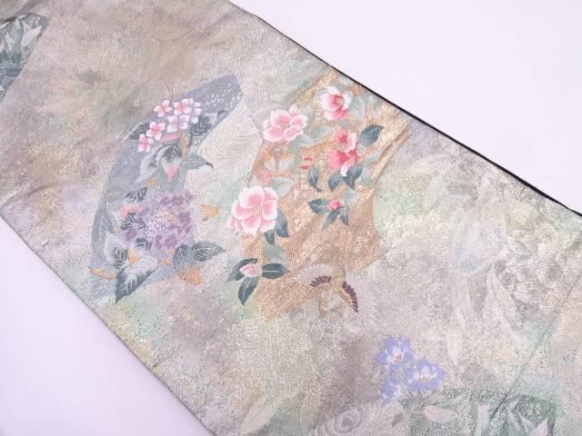 地紙に流水・花鳥模様織出し袋帯【リサイクル】【中古】