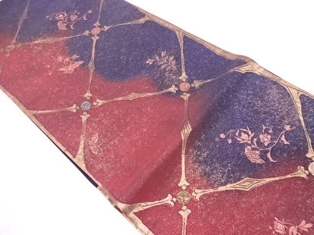 未使用品 漆箔襷に花鳥模様織出し袋帯【リサイクル】【中古】