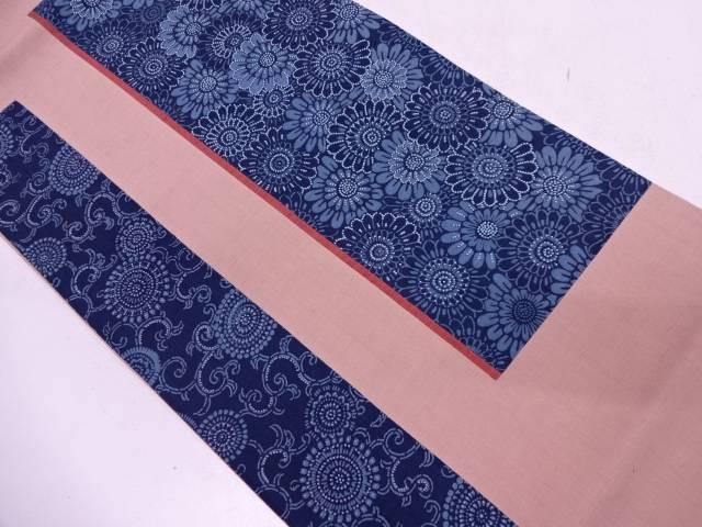 手織紬切り嵌め相良刺繍花唐草模様袋帯【リサイクル】【中古】