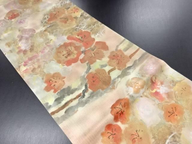 手描き草花に梅模様暈し袋帯【リサイクル】【中古】