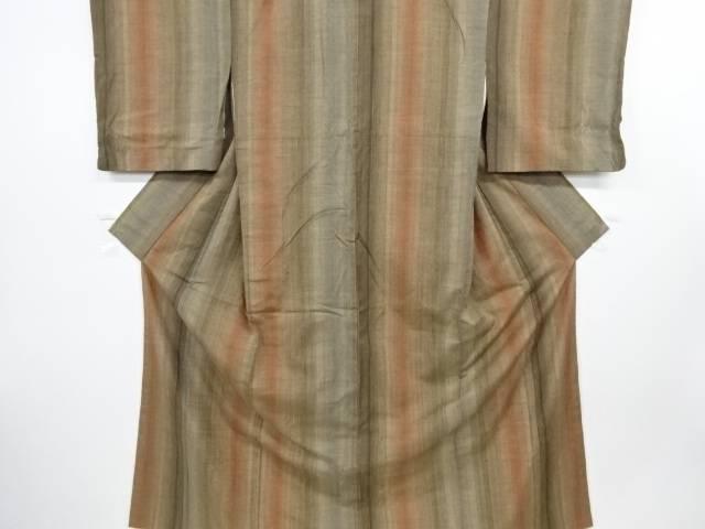 縞織り出し手織り真綿紬着物【リサイクル】【中古】【09OFF】