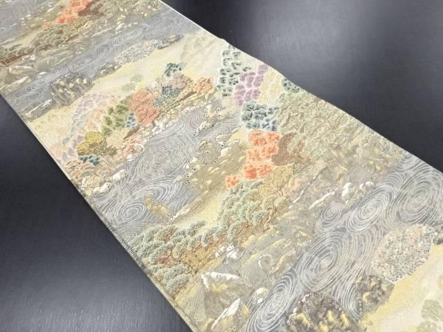 金糸 庭園風景模様織り出し袋帯【リサイクル】【中古】