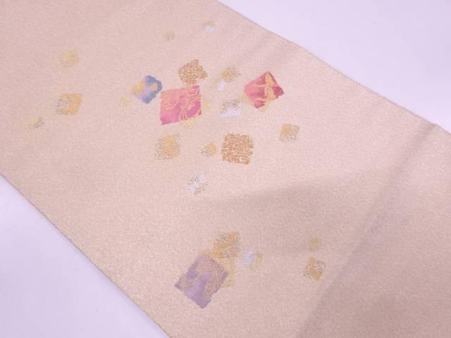 綴れ破れ色紙散らし模様織出し袋帯【リサイクル】【中古】