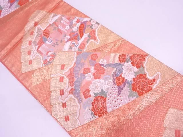 檜扇に松鶴・梅模様織出し袋帯【リサイクル】【中古】