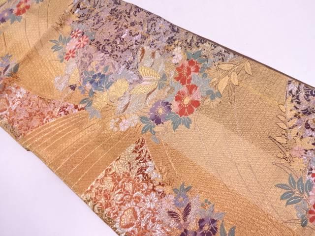 花鳥に蝶模様織出し袋帯【リサイクル】【中古】