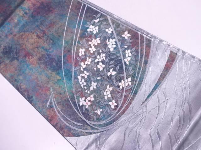 四次元箔草花模様織出し袋帯【リサイクル】【中古】