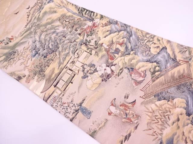 七福神に風景模様織出し袋帯【リサイクル】【中古】