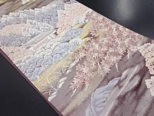 家屋に森林模様織り出し袋帯【リサイクル】【中古】