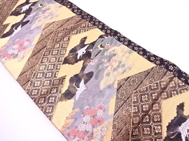 松竹梅に鶴模様織出し袋帯【リサイクル】【中古】