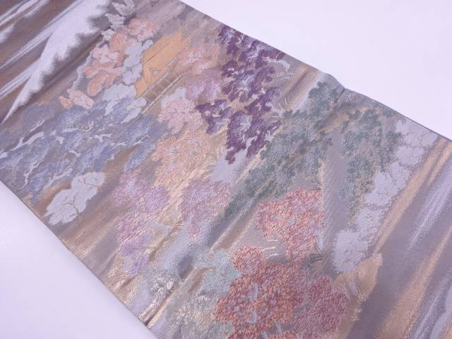 屋敷に山並風景模様織出し袋帯【リサイクル】【中古】