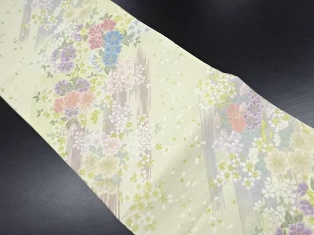 金糸枝桜に花弁散らし模様織出袋帯【リサイクル】【中古】
