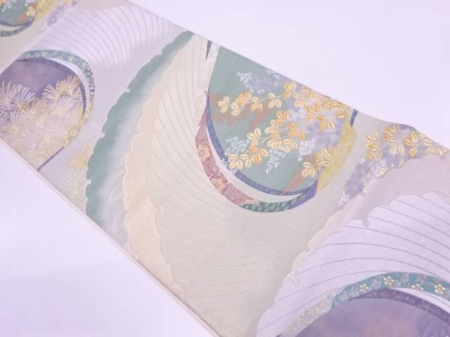 萩に花唐草模様織出し袋帯【リサイクル】【中古】