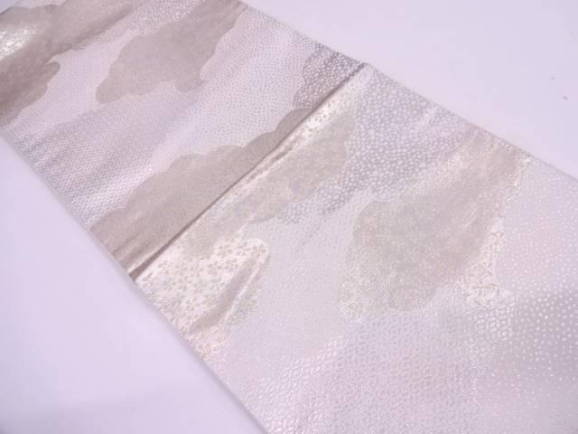 服部織物製 こはく錦雲に花模様織出し袋帯【リサイクル】【中古】