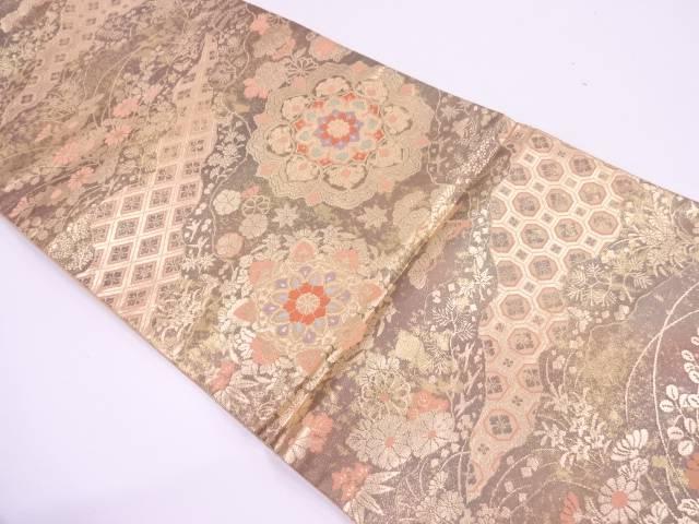 服部織物製 二重箔織草花に宝相華模様織出し袋帯【リサイクル】【中古】