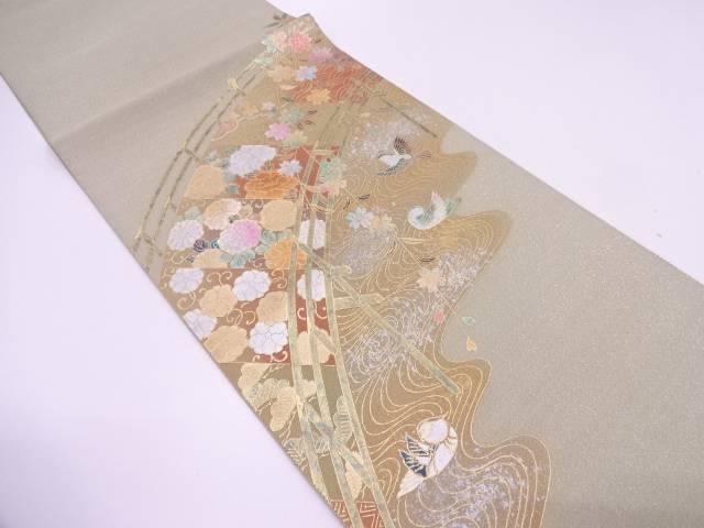 綴れ金彩橋に枝垂れ桜・鳥模様袋帯【リサイクル】【中古】