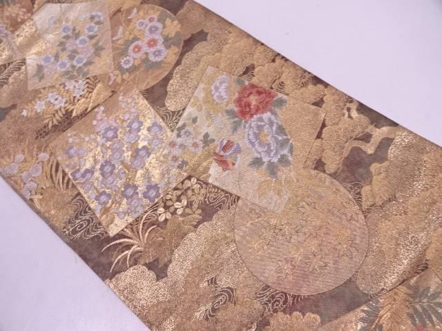 色紙に鴛鴦・松梅模様織出し袋帯【リサイクル】【中古】