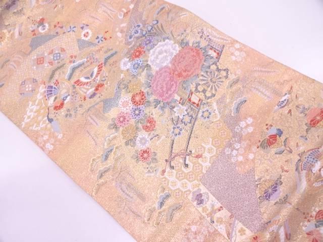 本金箔地紙に花車・蝶模様織出し袋帯【リサイクル】【中古】