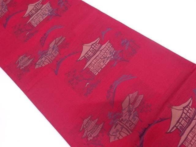 金閣寺風景模様織出し袋帯【リサイクル】【中古】