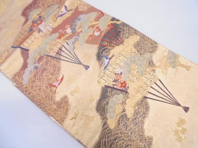 扇に花鳥模様織出し袋帯【リサイクル】【中古】