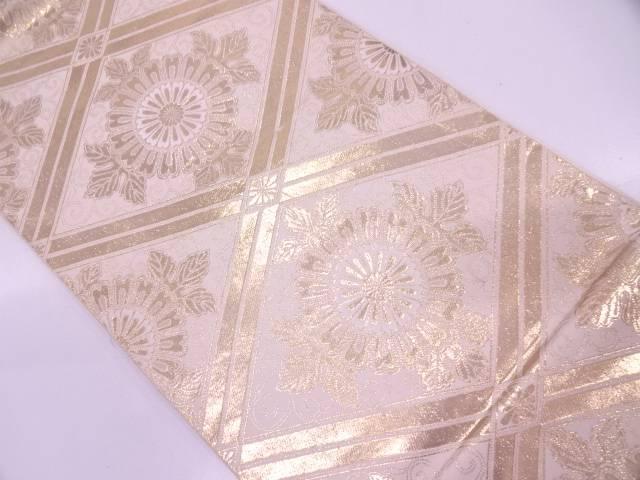 服部織物製 本金箔24K襷に花唐草模様織出し袋帯【リサイクル】【中古】