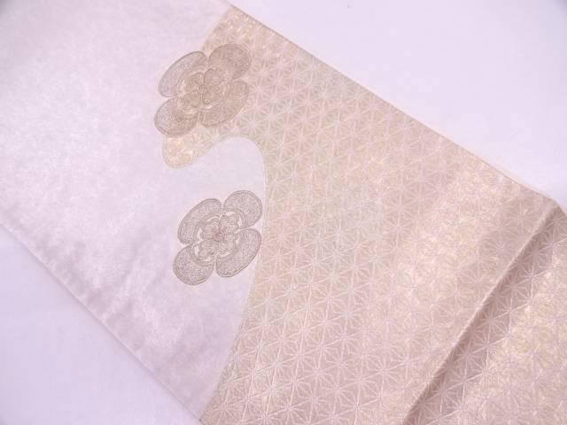 麻の葉に花模様刺繍袋帯【リサイクル】【中古】