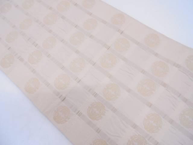 格子に向い蝶模様織出し袋帯【リサイクル】【中古】