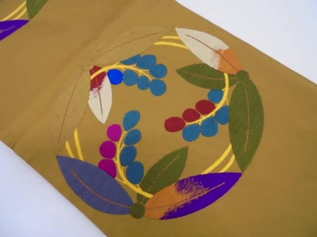 日本刺繍 花丸紋様全通袋帯【リサイクル】【中古】