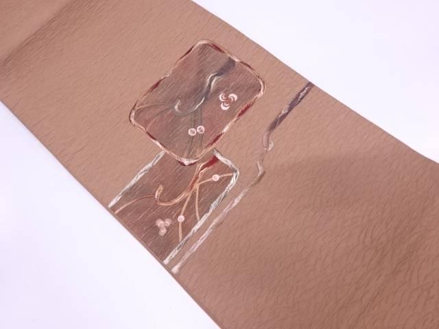 纐纈枝花模様刺繍袋帯【リサイクル】【中古】