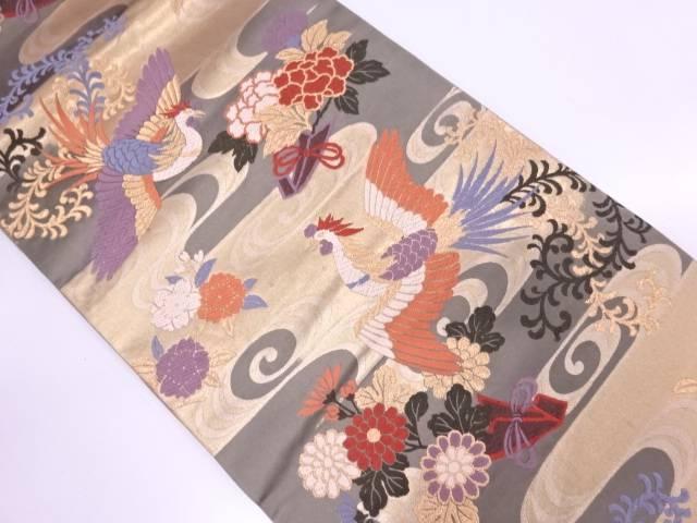 鳳凰に草花・流水模様織出し袋帯【リサイクル】【中古】