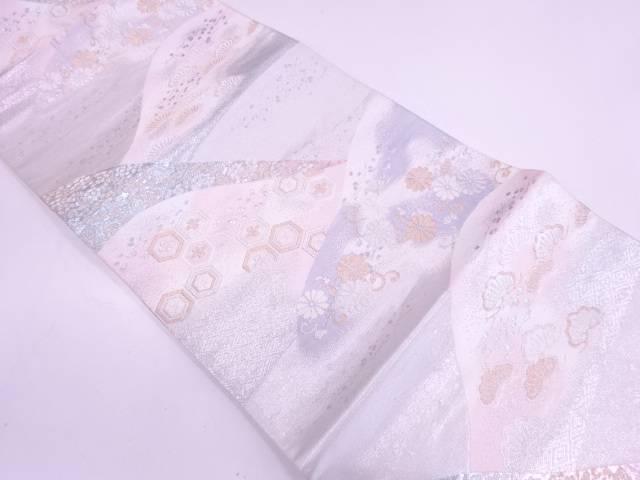 山に松・花唐草模様織出し袋帯【リサイクル】【中古】