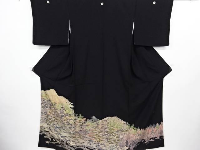 作家物 手描き遠山に松原模様留袖(比翼付き)【リサイクル】【中古】