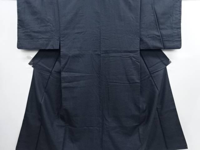 小格子織り出し西陣お召男物着物アンサンブル・長襦袢セット【リサイクル】【中古】