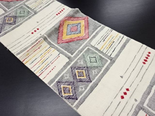 手織り真綿紬重ね菱織り出し名古屋帯【リサイクル】【中古】
