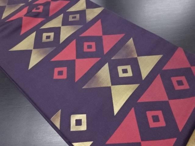 引箔幾何学模様織り出し名古屋帯【リサイクル】【中古】